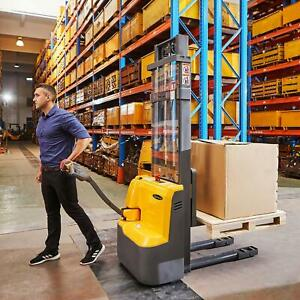 Apollolift Full Electric Drive Straddle Stacker Walkie Truck 98 3300lb Load Cap