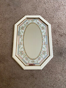 Beautiful Vintage Octagon Mirror Color Glass Etched Wood Framed 32 X 22 Florals