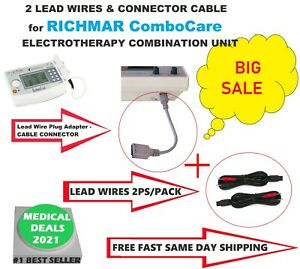 3ps Lot 2 Electrode Lead Wires Grey Connector Cable For Richmar Combocare