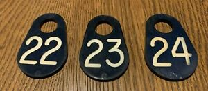 3 Vintage Black Plastic Cow 22 23 24 Dairy Sheep Tag Double Sided Cattle Marker