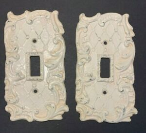 Pair Vintage Single Switch Plate Cover Painted Metal Ornate Swirls Cross Hatch