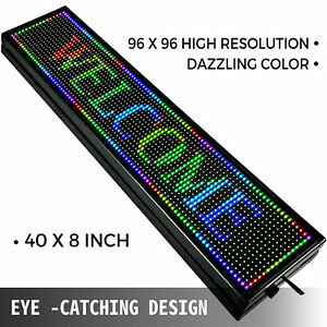 Usb Led Sign 7 Color 40 x8 Programmable Scrolling Message Display Us Ship