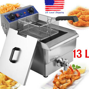 13l Electric Deep Fryer Commercial Restaurant With Frying Basket Lid 1 65kw Usa
