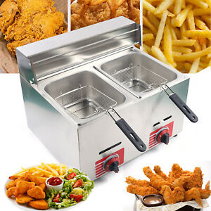 Commercial Countertop Gas Fryer Multifunctional 2 Basket Propane lpg Stainless