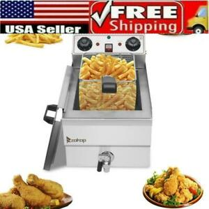 1700w Electric Deep Fryer 12l Commercial Stainless Steel Restaurant Fry Basket
