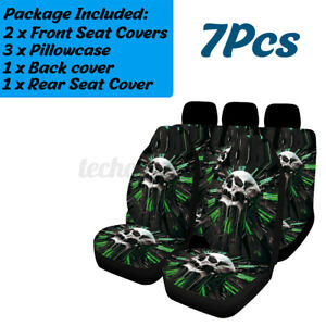 Universal Green Skull Polyester Car Suv Front Seat Cover Cushion Protector Mat