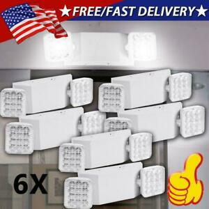 6 Pack Led Emergency Exit Light Adjustable 2 Head With Battery Back up Ul 924 Us