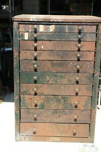 Vintage Chevy Chevrolet Metal Parts Bin Cabinet 10 Drawers Local Pickup 34482