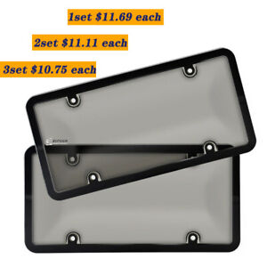 2pcs Auto Car Smoked Tinted License Plate Unbreakable Tag Shield Cover And Frame