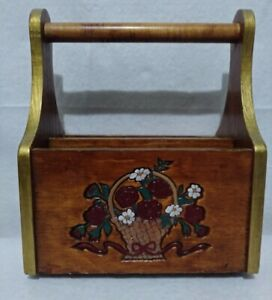 Vintage Wood Caddy Divided Basket Letter Desk Organizer With Handle Hand painted