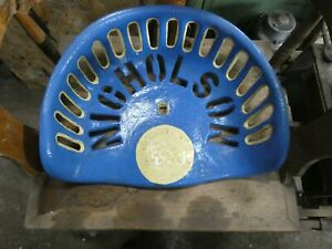 Nicholson Vintage Cast Iron Tractor Implement Seat Collectibles