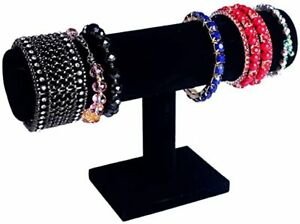 T bar Jewelry Bracelet And Watch Display Stand Black Velvet For Home