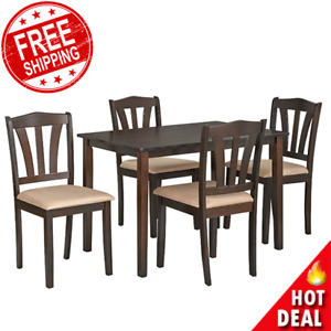 5 Piece Dining Set Wood Breakfast Furniture 4 Chairs Table Kitchen Dinette New