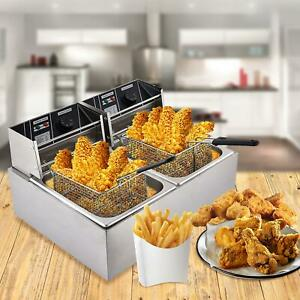 Commercial Dual Tank Electric Deep Fryer 3600w 16l Stainless Steel With Basket