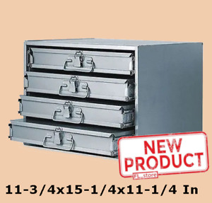 4 Drawer Tool Storage Organizer Sliding Drawers Cabinet Tools Compartment Steel