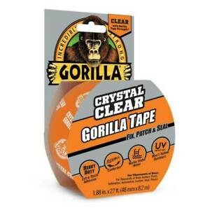 Gorilla 6027002 Crystal Clear Duct Tape 1 88 X 9 Yd Clear pack Of 1
