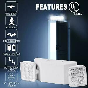 1pack Double Heads 2 Led Home Office Market Exit Sign Emergency Lighting Lamp