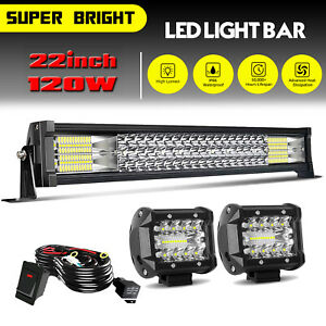 20 22inch Led Light Bar Spot Flood Combo 4 Pods Offroad For Jeep Truck Suv