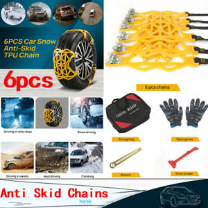 6pcs Tire Chains Snow Anti Skid Thick Tendon Emergency Thickening Of Car Suv Us