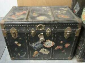 Antique Steamer Trunk With Stickers