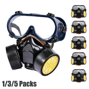 Double Filter Full Face Gas Mask Painting Spraying Respirator Chemical Facepiece