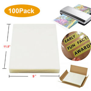 100 thermal Laminating Pouches 3 Mil Heat Seal A4 Letter 9x11 5 For Photo files