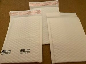 New Lot Of 3 Bubble Shipping Mailing Envelopes Small White Uline