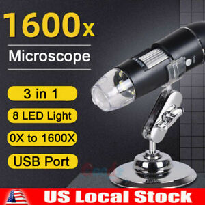 3in1 8led 1600x 10mp Usb Digital Microscope Endoscope Magnifier Camera stand