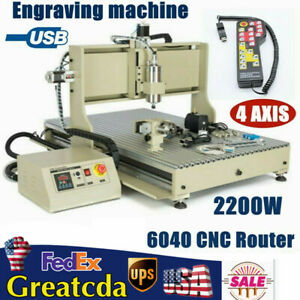 4 Axis Usb Cnc 6040 Router Engraving Drilling milling Machine Controller 2200w