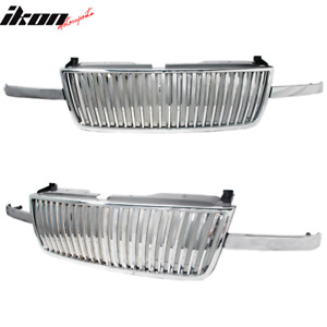 Fits 03 06 Chevy Silverado Avalanche Chrome Vertical Front Grille Grill Guard