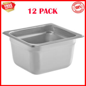 12 Pack 1 6 Size Anti jam Stainless Steel Steam Table Hotel Food Pans 4 Deep