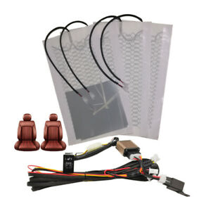 12v Universal Car Carbon Fiber Heated Seat Heater Kit Cushion 5 Position Switch