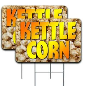 Kettle Corn 2 Pack Double sided Yard Signs 16 X 24 With Metal Stakes made In