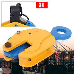3ton Vertical Plate Lifting Clamp With Lock Hoist Hook Chain Industrial Steel