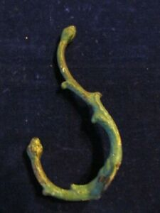 Antique Real Vtg Coat Hook Acorn Tips With Thorns And Green Shabby Paint A24