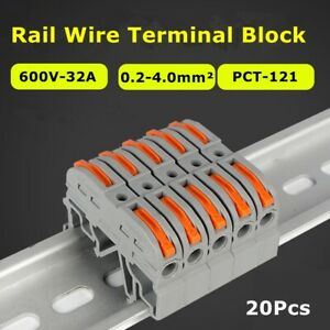 20x Mini Push in Conductor Din Wiring Compact Rail Wire Connector Terminal Block