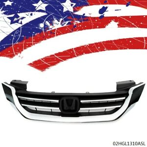 Front Bumper Radiator Upper Chrome Grill Fit For Honda Accord 2013 2015 New