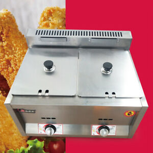 Dual Pan Commercial Deep Fryer Ng Propane Gas Use Counter Top Stainless 12l