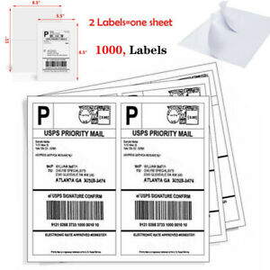 1000 Half Sheet Self Adhesive Shipping Labels 8 5 X 5 5 address Labels For Usps
