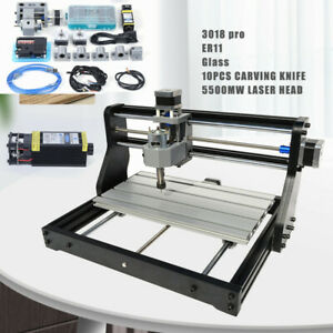 Cnc 3018 Pro Machine Router 3 Axis Engraving Wood Pcb Diy Mill 5500mw Laser Head