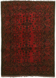 Vintage Hand Knotted Carpet 3 5 X 4 11 Traditional Oriental Wool Area Rug