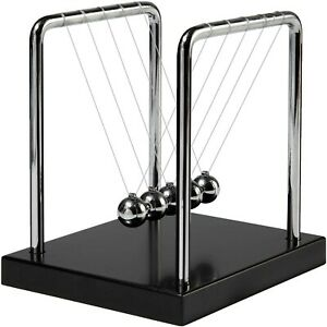 Newtons Cradle Balance Balls With Black Wooden Base Fun Science Physics Learn