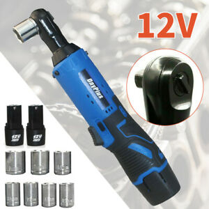 Cordless 3 8 Electric Ratchet Right Angle Wrench Impact Power Tool W 7 Socket