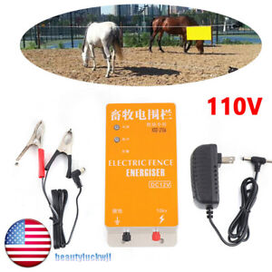 110v Solar Electric High voltage Pulse Fence Charger Ranch Fence Energizer Us