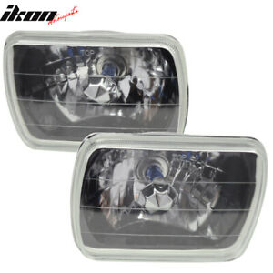7x6 Square H4 Headlight Lamp Halogen Bulb Clear Lens With Blue City Light Pair