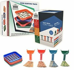 Nadex Sort And Wrap Set With 350 Coin Wrappers 4 Easy Wrap Coin Tubes And 4 Qu