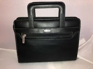 Franklin Covey Black Planner Binder Organizer Retractable Handles Day One