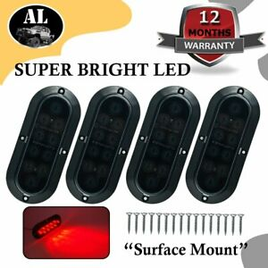 4x 10led 6 Red Smoked Lens Oval Surface Mount Stop Tail Light Car Truck Trailer