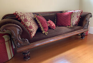 Antique French Victorian Rolled Arm Sofa With Dramatic Scroll Detail