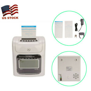 Lcd Display Employee Attendance Punch Time Clock Payroll Recorder 100 Time Cards